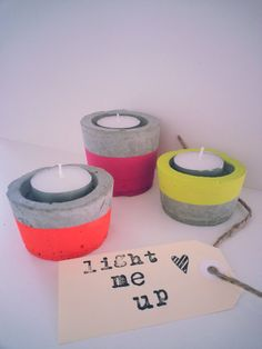 Concrete candle holders painted with neon by saraihomewares, $30.00