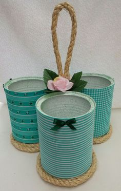 Latas de leite podem ser usadas para decorar e organizar - Tin Can Crafts, Diy Home Crafts, Jar Crafts, Bottle Crafts, Arts And Crafts, Recycled Tin Cans, Recycled Crafts, Recycled Art Projects, Tin Can Art