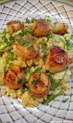 Gluten Free Scallop Risotto with Asparagus   Gluten Free Recipes+