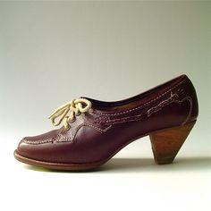 80s vintage Dark Burgundy Leather Librarian Shoes