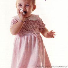 Розовое платье для девочки 1-1,5 лет (спицы)