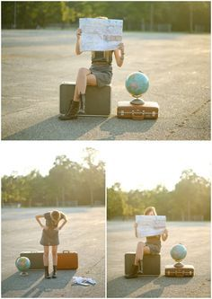 I like the idea of the suitcases, globe, and map since you are moving (maybe a map of Massachusetts)