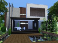 Modern Home featuring kitchen with breakfast bar ,dining area with fireplace,and livingroom. Found in TSR Category 'Sims 4 Residential Lots'