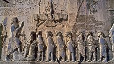 Great rock carving of Bistun belonging to the Persian King Darius, showing king Darius and the rebels; King Darius was the king of Persian Achaemenid Empire. in the Persian city of Kermanshah, Iran. Ancient Aliens, Ancient History, Ahura Mazda, Ancient Mesopotamia, Ancient Civilizations, Ancient Mysteries, Ancient Artifacts, Cyrus The Great, The Hierophant