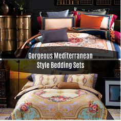 10 Gorgeous Mediterranean Style Bedding Sets Mediterranean Quilts Quilts are a versatile style of bedding that can add a homey and quaint t. Mediterranean Style, Easy Home Decor, Bed Styling, Bedding Sets, Decor Ideas, Blanket, Decorating, Living Room, Dekoration