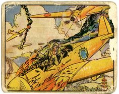 Just one of the trading cards (widely sought after decades later) from the 1938 series Horrors of War from Gum Inc., one of the most famous trading card sets of all-time. There were 288 cards divided into 2 series. Scenes of torture, bloody battlefields and children under attack are all shown in the set. The backs offer detailed descriptions of what's happening on the card.