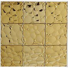 Gold stainless steel tile mosaic pebble patterns metal backsplash cheap square tile brick bathroom mirror frame wall decor SST6708
