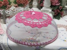Jewel Pink Doily on Domed Screen Food Protector Shabby Cottage Chic Country | eBay