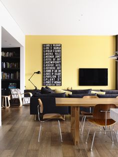 Living space with Jardan Nook sofa, Mark Tuckey table and Eames DCM dining chairs Accent Chairs For Living Room, Dining Room, Eames Dining Chair, Drafting Chair, Grey Couches, Occasional Chairs, Residential Architecture, Coffee Shop, Corner Desk