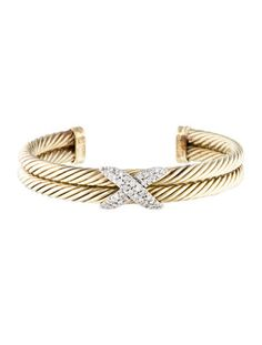David Yurman Diamond X Cable Bracelet