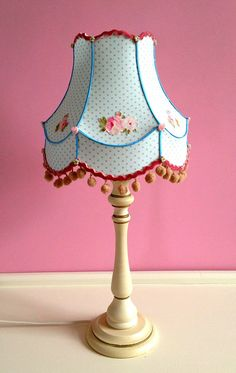 1950s Style Vintage Lamp Shade in Blue and Pink Polka Dot and Roses for Table Lamp by Queen of Shades on Etsy