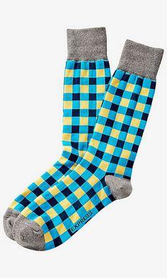 Bright Gingham Dress Socks   Express