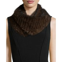Pologeorgis Knitted Mink Fur Infinity Scarf ($605) ❤ liked on Polyvore featuring accessories, scarves, brown, tube scarves, round scarf, infinity scarf, infinity loop scarves and circle loop scarf