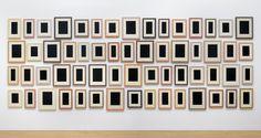 "Allan McCollum [USA] (b 1944) ~ ""60 Plaster Surrogates (No 3)"", 1982-90. Enamel on hyrdrostone plaster (223.5 x 569 cm).   #art #installation_art #conceptual_art #minimal_art #assemblage"