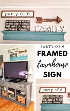 """""""Party of 6"""" framed farmhouse sign made from wood scraps. #DIYHomeDecorFrames"""