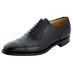 Cheaney Brackley R. A 6 eyelet Oxford shoe with stitched toecap detail Fully leather lined. Black calf leather Last 225 Cheaney Shoes, Goodyear Welt, Calf Leather, Derby, Calves, Oxford Shoes, Dress Shoes, Lace Up, Black