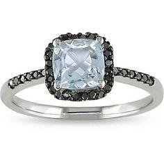 Aquamarine is my birthstone.  Miadora 10k Gold Aquamarine and 1/6ct TDW Black Diamond Ring