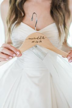 rustic wedding // engraved hanger for bride's dress with wedding date