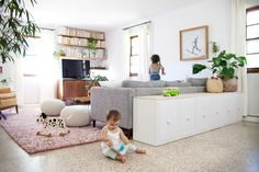 Ikea Restyle: Modern Hollywood Regency Credenza - A Beautiful Mess Ikea Toy Cabinet Restyle Living Room Toy Storage Furniture, Couch Storage, Ikea Toy Storage, Toy Storage Solutions, Game Storage, Office Furniture, Storage Ideas, Stairs In Living Room, Living Room Sofa