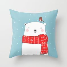 Buy POLAR BEAR&LITTLE BIRD CHRISTMAS Throw Pillow by CharmArtStudio. Worldwide shipping available at Society6.com. Just one of millions of high quality products available.