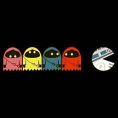 PAC-MAN vs Star Wars, pop art, illustration. Would be a shirt I would totally wear.