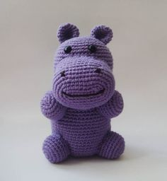 Bamboo Cotton Purple Hippopotamus  #nursery plush toy children