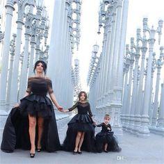 Black Hi_Lo Pageant Dresses For Girls Jewel Long Sleeve Flower Girl Dresses For Toddlers Teens Kids Formal Wear Party Communion Dresses Girls Pageant Dresses, Pageant Gowns, Girls Party Dress, Party Gowns, Prom Dresses, Bride Dresses, Pageant Wear, Dresses 2016, Graduation Dresses