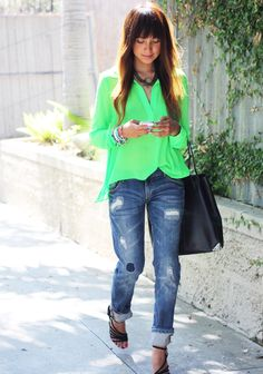 Pierre Hardy strappy sandals, Zara boyfriend jeans, Rory Beca blouse, Alexander Wang shopper, LUV AJ necklace