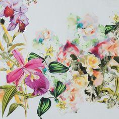 """Italian Warm Multicolor Floral Stretch Cotton Twill--$16/panel--54"""""""