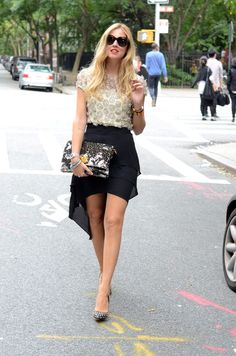 embellished top with skirt and studded heels
