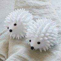 Hedgehog Dryer Balls separate your laundry, thus circulating warm air, removing wrinkles and naturally softening your stuff. Lower dryer time and save energy.