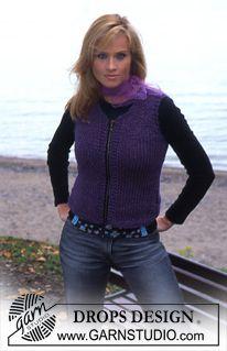 """DROPS Vest with zipper in """"Eskimo"""" ~ DROPS Design"""
