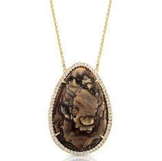 #RoxburyOriginal: 14kt Yellow Gold Necklace featuring a Brown Deschutes Jasper surrounded by 0.72ct of diamonds.