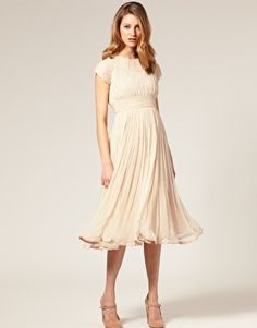 ASOS Salon Chiffon Midi Dress - Wish there were other colors. This is expensive for viscose.