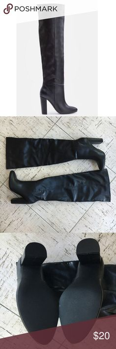 """JustFab Geraldine Boot In Black Size 6.5 NEW, NEVER WORN! Black over the knee boot in faux leather. Stacked heel measures 4"""". Boot measures 19.5"""" tall from heel to top of boot. No scuffs or damage. JustFab Shoes Over the Knee Boots"""