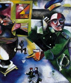 Collection Online | Marc Chagall. The Soldier Drinks (Le soldat boit). 1911–12 - Guggenheim Museum