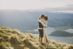 Evening light in the mountains on a New Zealand elopement wedding. Shot on Coromandel Peak, Mount Roy. Photography by Alpine Image Company