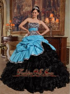 New Aqua Blue and Black Quinceanera Dress Sweetheart Pick-ups Ball Gown Taffeta and Organza  http://www.fashionos.com
