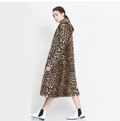 2013 new fashion winter women animal leopard print wool trench coat with warm fur