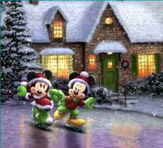 Mickey Mouse et Minnie. Mickey Mouse Christmas, Christmas Cartoons, Mickey Mouse And Friends, Mickey Minnie Mouse, Disney Mickey, Christmas Scenes, Christmas Art, Xmas, Thomas Kinkade Disney