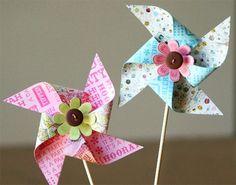 Make colourful pinwheels