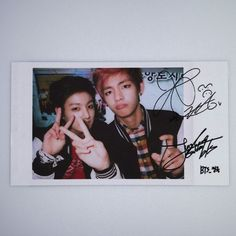 BTS Bangtan Boys fancafe v&jungkook signed paper polaroid photocard #1 run kpop
