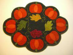 Pumpkin Candle Mat Wool Applique PATTERN Fall by PennyRugsPlus