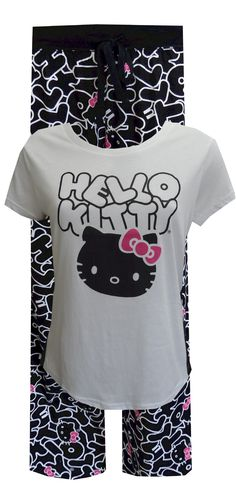 Kitty Craze Hello Kitty Black And White Pajama Set Catch the Kitty craze! This pajama set for women is perfect for lounging around in style. The tee has black side panels for an updated look and is 1 inch shorter in the front. The all-over print bottoms have a 29 inch inseam. They have an wide elastic waistband and a drawstring tie. Junior Cut.
