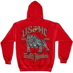 US Marine Corps Hooded Sweatshirt, Cotton Casual Mens Shirts, Show Your Pride with Our USMC- Semper Fidelis Teufel Hunden Long Sleeve Sweatshirts for Men or Women (XX-Large) Red Hoodie Sweatshirts, Marine Corps T Shirts, Custom Screen Printing, Usmc, Marines, Mens Tees, Custom Clothes, Camouflage