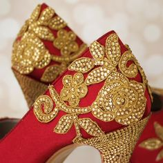 Custom Wedding Shoes -- Claret (AA) Peep Toe Wedding Shoes With Gold and Crystal Hand Created Lace Design