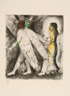 Marc Chagall=O Homem Guiado pela Eternidade, 1956; água-forte aquarelada sobre papel (54,2 x 39,5 cm). Imagem: Nicolas Wilmouth