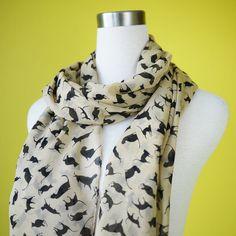 Cat print scarf black cat scarf chiffon scarf causal long scarf shawl belt black cat in beige. $18.00, via Etsy.