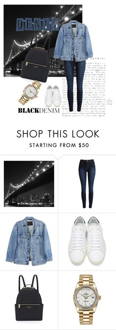 """Denim"" by cathido ❤ liked on Polyvore featuring WALL, Y/Project, Yves Saint Laurent, Henri Bendel and Rolex"