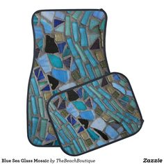 Blue Sea Glass Mosaic Car Floor Mat